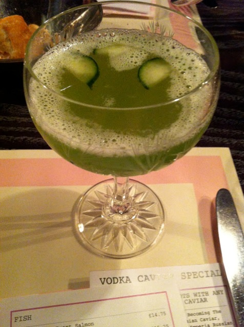 cucumber martini, Bob Bob Ricard, Soho, Archer Street, Birthday Dinner London, restaurant review Bob Bob Ricard, Girls night out London, Where to eat London, Champagne, Press for Champagne